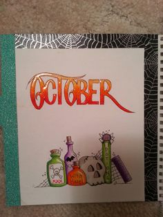 October doodle, bullet journal, copic, halloween, washi tape, wink of stella, autumn, fall, glossy accents