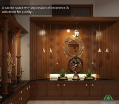 A sacred space with expression of reverence & adoration for a deity... Visit us: www.monnaie.in or www.monnaieinteriors.com #interiordesign #poojaroom
