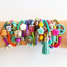 15 Boho Chic Bracelets - stretch bracelets - layered jewelry - bohemian bracelet - unique jewelry - one of a kind - peace sign - christmas Arm Bracelets, Bohemian Bracelets, Bohemian Jewelry, Stretch Bracelets, Beaded Bracelets, Layered Jewelry, Layered Bracelets, Kids Jewelry, Jewelry Making