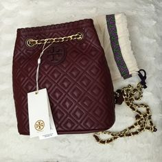 "Tory Burch Marion Quilted Small Backpack Brand new with tag and dust bag. 100% authentic. Color is ""Deep Berry"". Rare and super cute! trade. Tory Burch Bags Backpacks"