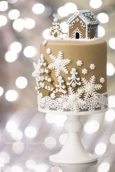 I'm in love with this cake for a Winter Wedding...Gingerbread Rolled Fondant Cake - Cake by With Love & Confection