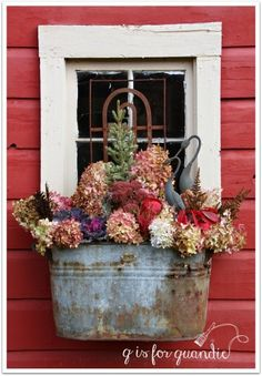 A Fall Into Winter Window Box. I have several window boxes at my house. It can be a little pricey to fill them up each season, so I've learned to use dried flowers from my perennial gardens… Winter Window Boxes, Metal Window Boxes, Window Frames, Window Ideas, Galvanized Decor, Galvanized Planters, Provence Garden, Pot Jardin, Deco Floral