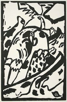 Homage to Wassily Kandinsky - 1975 : Black and white woodcut 3 at Davidson Galleries