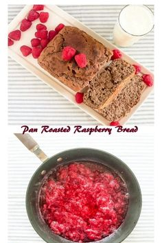 This soft and fluffy Pan Roasted Raspberries Bread is quick, yeast free and well baked. Its easy to whip up and is not overly sweetened plus its kid friendly along with being vegan | kiipfit.com Easy Bread Recipes, Dairy Free Recipes, Cake Recipes, Sweets Recipes, Vegan Bread, Vegan Cake, Vegan Baking, Bread Baking, Raspberry Bread