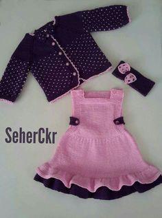 Beautiful B Babyknitting - DIY & Crafts Baby Girl Dress Patterns, Baby Girl Dresses, Girl Outfits, Baby Girl Crochet, Crochet Baby Clothes, Baby Cardigan Knitting Pattern, Baby Knitting Patterns, Diy Crafts Dress, Knit Baby Dress