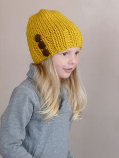 Toddler Slouch Hat Mustard Yellow Three Natural Coconut Buttons 39d15fd3966e