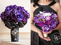 Purple wedding bouquets, B Photography Los Angeles Wedding Photographers