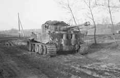 Танк «Тигр» 503-го батальона вермахта стоит на дороге на территории СССР