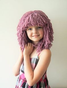 Crochet yarn wig hat warm and fun winter hat or great carnial cosstume hat for girls, teens women. It is possible to make different hairstyles. Made of soft acrylic yarn Color pink Size 19 One size fits from child up to teens, women. Crochet Kids Hats, Crochet Girls, Crochet Yarn, Knitted Hats, Best Winter Hats, Winter Hats For Women, Women Hats, Funny Hats, Cute Hats