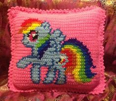 Crochet my little Pony Rain Bow Dash pillow cushion with name on the back