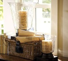Candles with old piano rolls