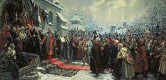 Хмелько Михаил Навеки с Москвой навеки с русским народом 1951 г.  Богдан Хмельницкий держит речь перед запорожскими казаками на Переяславской раде.