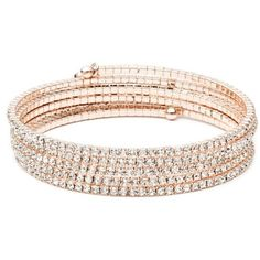 Anne Klein Pink Rose Gold-Tone Coil Bracelet ($36) ❤ liked on Polyvore featuring jewelry, bracelets, pink, anne klein, pink jewelry, pink bangles, anne klein jewelry and rose gold tone jewelry