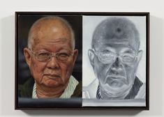 """AA Newsletter 2016 Aug11 McCallum3 Bradley McCallum, Rouge - Khieu Samphan (Extraordinary Chambers on the Courts of Cambodia – """"The Khmer Rouge Tribunal"""", 2011, after unknown photographer; convicted for crimes against humanity, currently facing trial for genocide), 2015. Diptych, oil on linen, 58.4 x 80 cm. All images courtesy of the artist."""