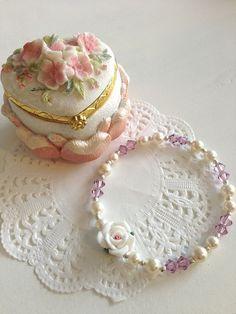 Pearl Bridal Bracelet/ Bridesmaid Gift/ White Porcelain Rose Swarovski Pearl Bracelet/ Amethyst Crystal Bracelet/ Pastel Victorian Lolita on Etsy, $33.00