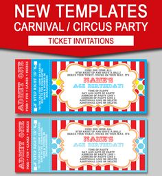 Carnival Party Printables Invitations  Decorations  Colorful