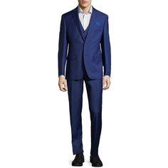 Tallia Orange Men's Three-Piece Slim-Fit Wool Suit (7,815 THB) ❤ liked on Polyvore featuring men's fashion, men's clothing, men's suits, blue, mens blue 3 piece suit, mens 3 piece suits, mens blue slim fit suit, mens suits and tall slim men's clothing