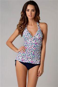 6607e51062f59 Spring Daisy Halter Tankini $88 New Wardrobe, Beach Bum, Tankini, Window  Shopping,