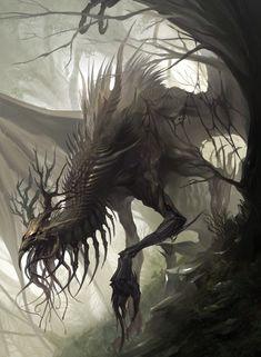 Dark Creatures, Mythical Creatures Art, Mythological Creatures, Magical Creatures, Dark Fantasy Art, Foto Fantasy, Fantasy Artwork, Fantasy Forest, Monster Concept Art