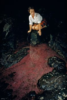 A woman perches above red algae in a stagnant pool inside Anemone Cave on Mount Desert Island, Maine, September 1952.
