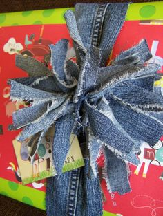 Denim scraps bow