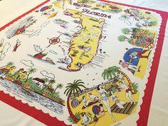 Vintage Florida tablecloth souvenir map 1950s by 3floridagirls