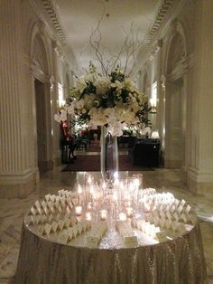 #UnionLeague #whitewedding #winterwedding #sparkles #reception #escorttable #flowers #robertsonsflowers
