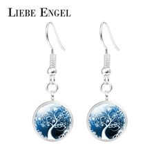 LIEBE ENGEL Colorful Tree of Life Crystal Rhinestone Dangle Eardrop Jewelry Fashion Drop Pedant Silver Plated Women Hook Earring