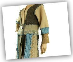 sweater tunic blue and tan small women sweater by jill2day on Etsy, $217.00