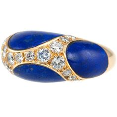 1970s Lapis Lazuli Diamond Dome Ring | From a unique collection of vintage dome rings at https://www.1stdibs.com/jewelry/rings/dome-rings/