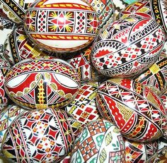 ukrainian easter eggs -- I remember making these as a kid. Ours never looked as good as these!