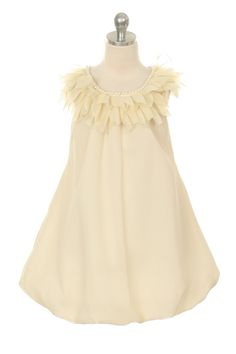 Flower Girl Dress Style 233 - Chiffon Dress with Pearl and Ruffle Detail $45.99