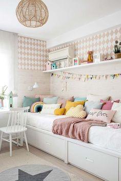 Dormitorio infantil para niña Teen Bedroom Designs, Kids Bedroom, Baby Room Decor, Bedroom Decor, Sister Room, Ikea, Cool Kids Rooms, Small Room Design, Minimalist Room