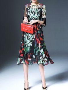 Printed/Dyed Fringed Midi Dress