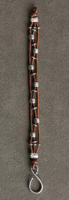 Leather bracelet with alternating silver beads . . . . ღTrish W ~ http://www.pinterest.com/trishw/ . . . . #handmade #jewelry #beading