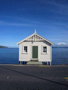 White shed on blue - Wellington NZ