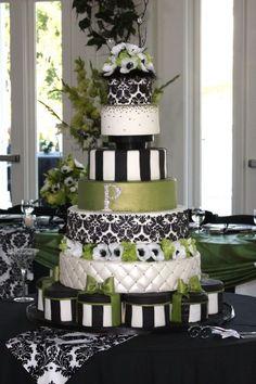 black and white and green wedding cake Black And White Wedding Cakes Black And White Wedding Cake, White Wedding Cakes, Black White, Cake Wedding, Crazy Cakes, Fancy Cakes, Gorgeous Cakes, Pretty Cakes, Amazing Wedding Cakes