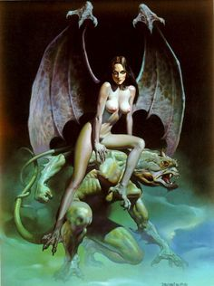 """Incubus"" (1981) by Boris Vallejo.  I have a bronze statue of this Boris Vallejo piece of artwork.  It stands about 2.5 feet tall, weighs a ton, & was a pain in the ass 2 bring to the U.S. from Germany!  It was an incredible gift from my cousin Harald who unfortunately met an untimely demise in a horrible automobile accident in 2004.  I miss u, Harry!"