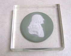 Vintage Wedgwood Green Jasperware JOHN WESLEY ENCASED DISC PLATE PAPERWEIGHT #Wedgwood