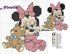 Minnie Cross Stitch Fairy, Mini Cross Stitch, Cross Stitch Heart, Disney Cross Stitch Patterns, Modern Cross Stitch Patterns, Cross Stitch Designs, Cross Stitch Beginner, Cross Stitch For Kids, Disney Coloring Sheets