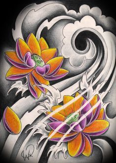 Japanese Blue Waves And Lotus Tattoo Design Japanese Lotus, Japanese Flower Tattoo, Japanese Tattoo Designs, Japanese Sleeve Tattoos, Japanese Flowers, Lotus Tattoo Design, Flower Tattoo Designs, Asian Tattoos, Trendy Tattoos