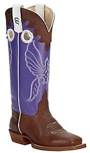 Anderson Bean® Kids Toast Bison w/ Grape Soda Top Square Toe Boots