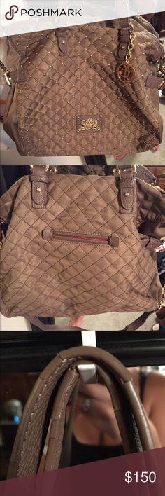 Authentic juicy couture Beige bag with gold studs. Like new!! Tad break in the shoulder straps because of wear but still like new overall. Comes with crossbody strap also! Juicy Couture Bags Crossbody Bags