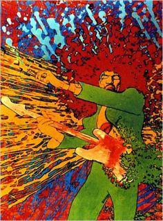 """#rip Martin Sharp graphiste du psychédélisme  """"Explosion"""", une image basée sur une photo de Jimi Hendrix prise par Linda McCartney."""