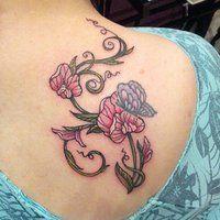 sweet pea tattoo by kyuuketsukirachel - love the butterfly