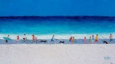 Johnny and Betty rode their bicycles across the beach