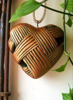 Earth Wool & Fire Ceramic Heart.