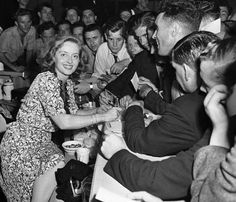 At the Hollywood Canteen which was co-founded by Bette and John Garfield.