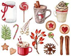 Christmas Jars, Christmas Crafts, Christmas Decorations, Christmas Kitchen, Illustration Noel, Christmas Illustration, Watercolour Illustration, Christmas Clipart, Christmas Printables