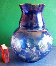 Antique Vintage Latvia Glass Vase Modern Art Blue cobalt Hand made